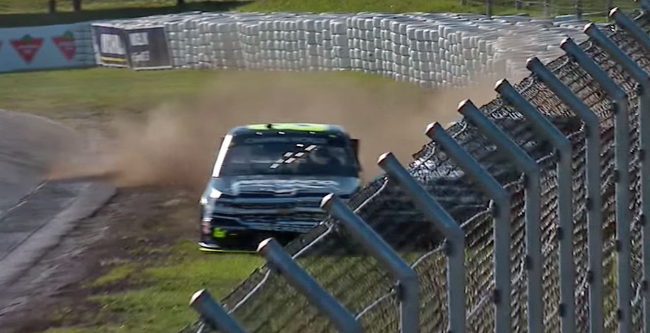 Nemechek, Custer wreck coming to the line in Canada